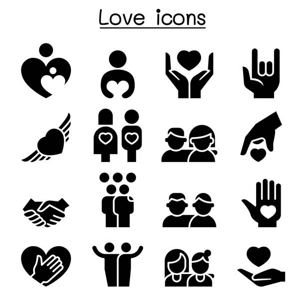 Love, Relationship, Friend, Family icon set Love, Relationship, Friend, Family icon set affectionate stock illustrations