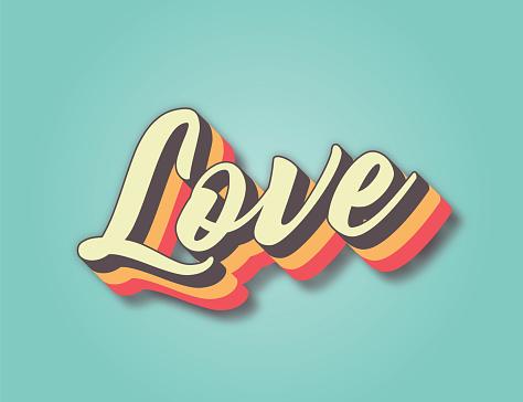 Love. Retro style lettering stock illustration. Invitation or greeting card stock illustration