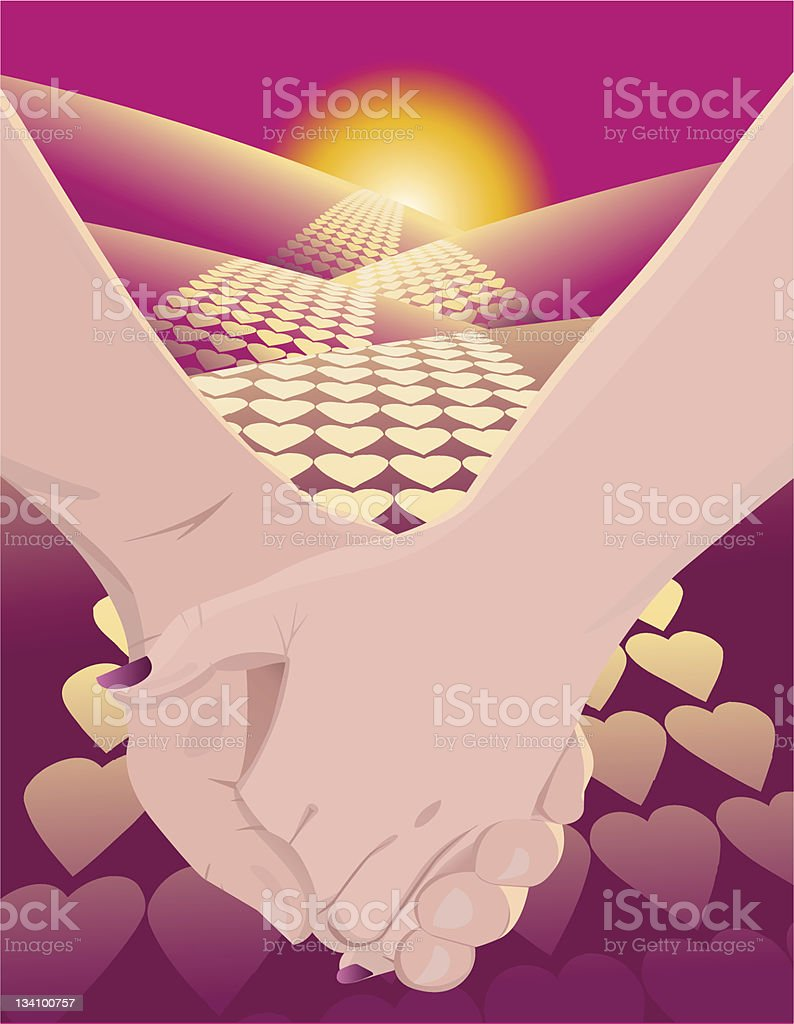Love Road vector art illustration