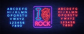 I love rock. Neon sign, bright banner, symbol, poster on the theme of rock n roll music, for a party, concert, festival, musical fest. Vector illustration. Editing text neon sign.