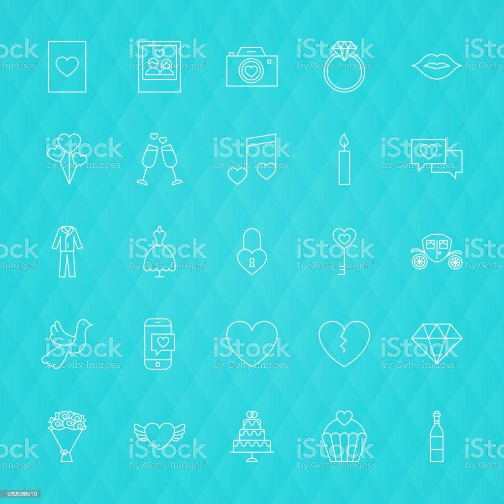 Love Romance Line Icons vector art illustration