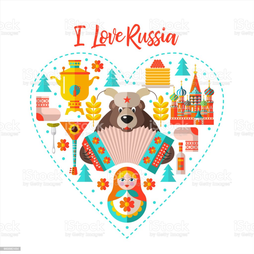 I love Russia. Flat vector illustration. Set of clipart on the Russian theme arranged in the shape of the heart. vector art illustration