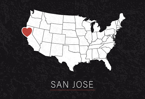 Love San Jose Picture. Map of United States with Heart as City Point. Vector Stock Illustration