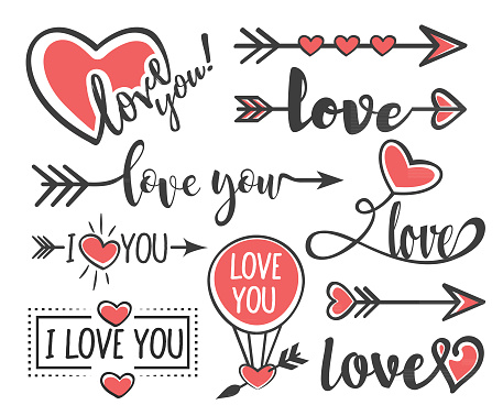 Love set. Vector hand lettering decoration for Happy Valentines Day.