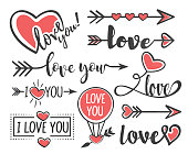 Vector illustration of the hand lettering decoration for Happy Valentines Day.