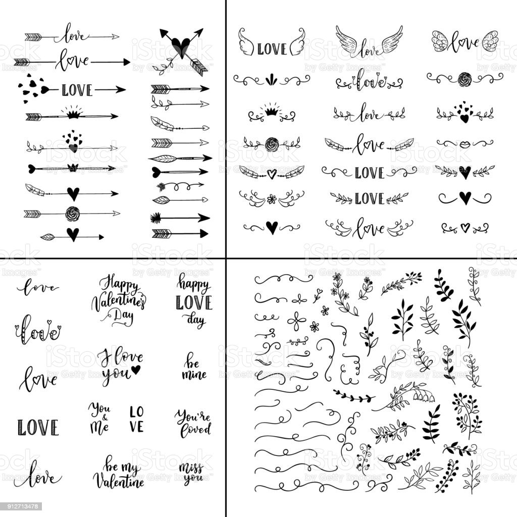 Love set. Vector hand lettering overlays, phrases for greeting cards, posters. Handdrawn arrows, branches, hearts, crown, wings, leaves decoration for Happy Valentines Day vector art illustration