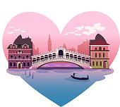 Love shaped Venice, with bridge and vaporetto canoe vector illustration.