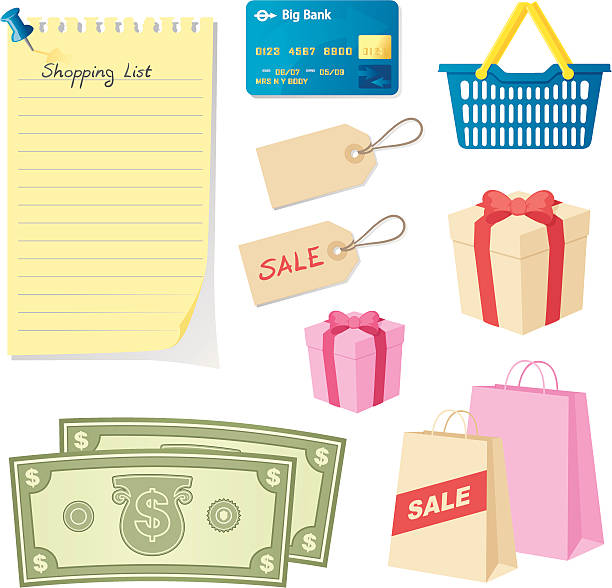 Love Shopping - incl. jpeg Cash, credit card, pressies, bags, basket, tags and list. shopping list stock illustrations