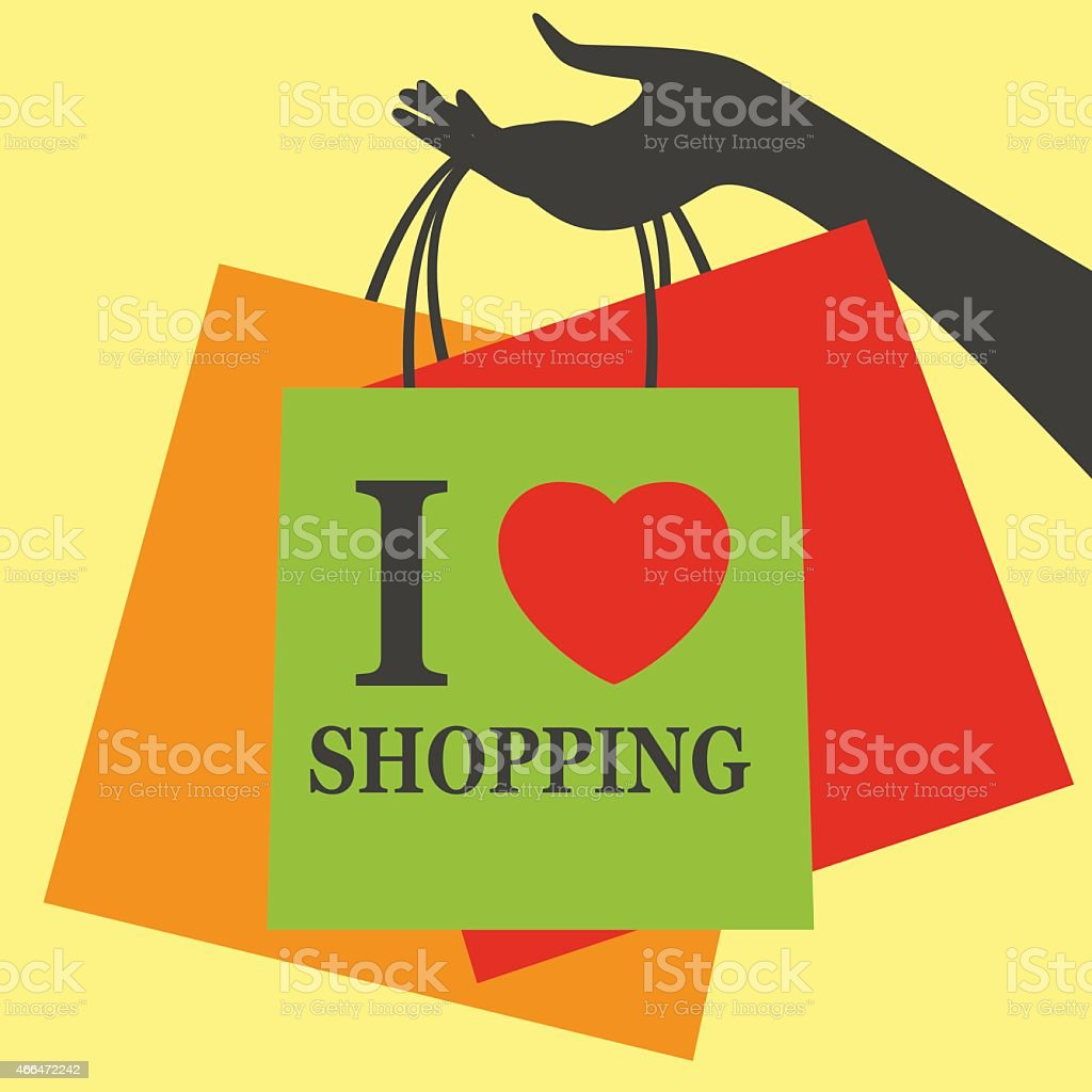 I love shopping vector art illustration