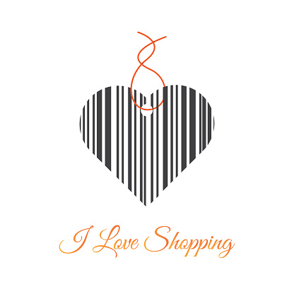 I love shopping vector illustration with a heart shaped price tag with a bar code. Scanning bar code. Love for shopping illustration.