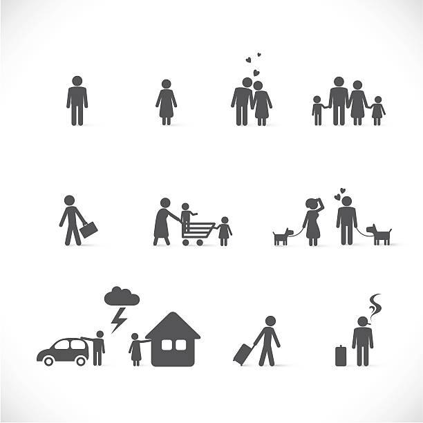 illustrazioni stock, clip art, cartoni animati e icone di tendenza di amore situazioni-figura insieme - divorzio
