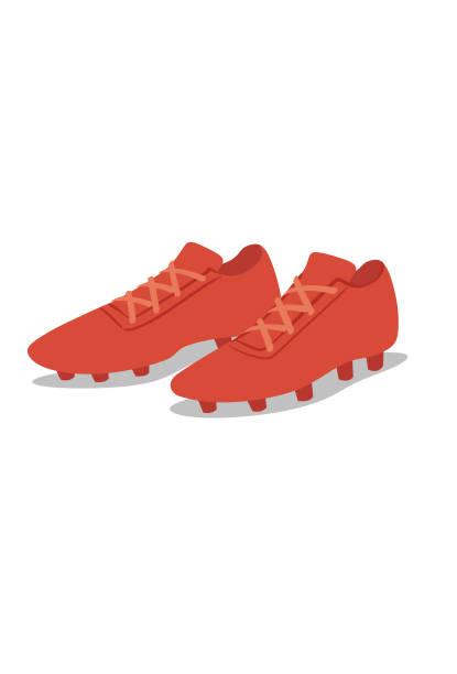 I love soccer Par de chuteiras vermelhas futebol stock illustrations