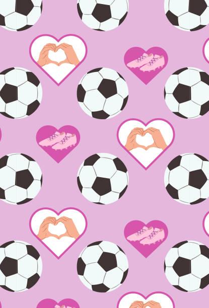 I love soccer Bola de futebol, chuteira e símbolo de coração futebol stock illustrations