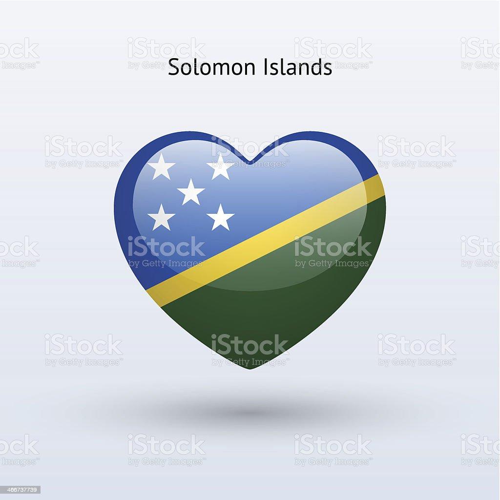 De Drapeau Îles Symbole Cœur Icône Amour De Salomon j5AL4R