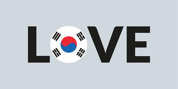 Love South Korea design with South Korean flag. Patriotic logo, sticker or badge. Typography design for T-shirt graphic. Vector illustration.