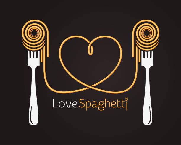 liebe spaghetti konzept. pasta mit gabel auf schwarzem hintergrund - spaghetti stock-grafiken, -clipart, -cartoons und -symbole