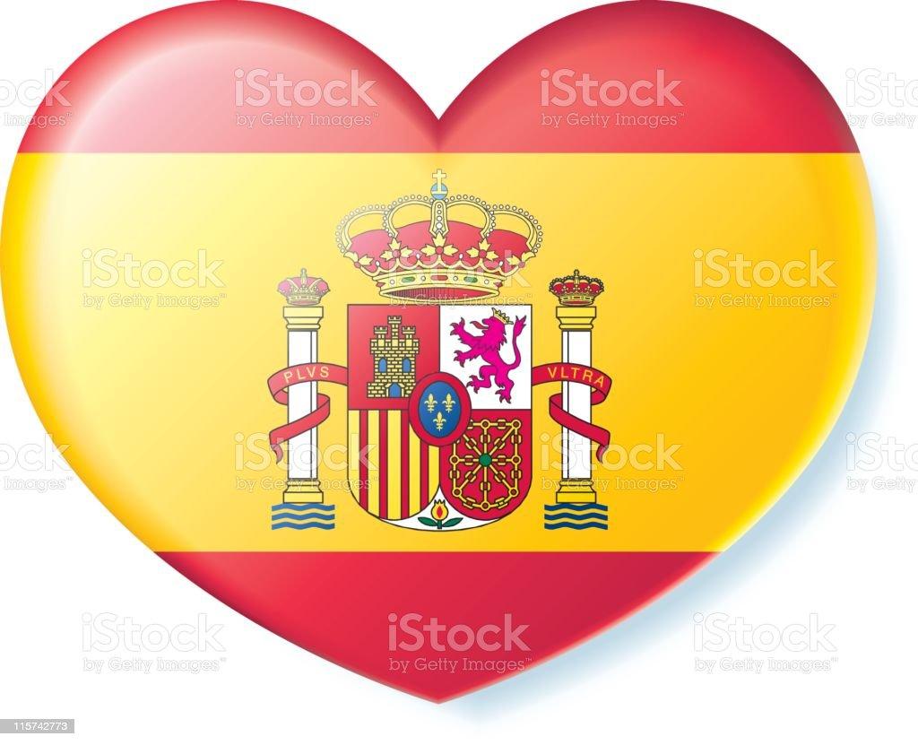 spanish flag spain flag heart shape clip art, vector images