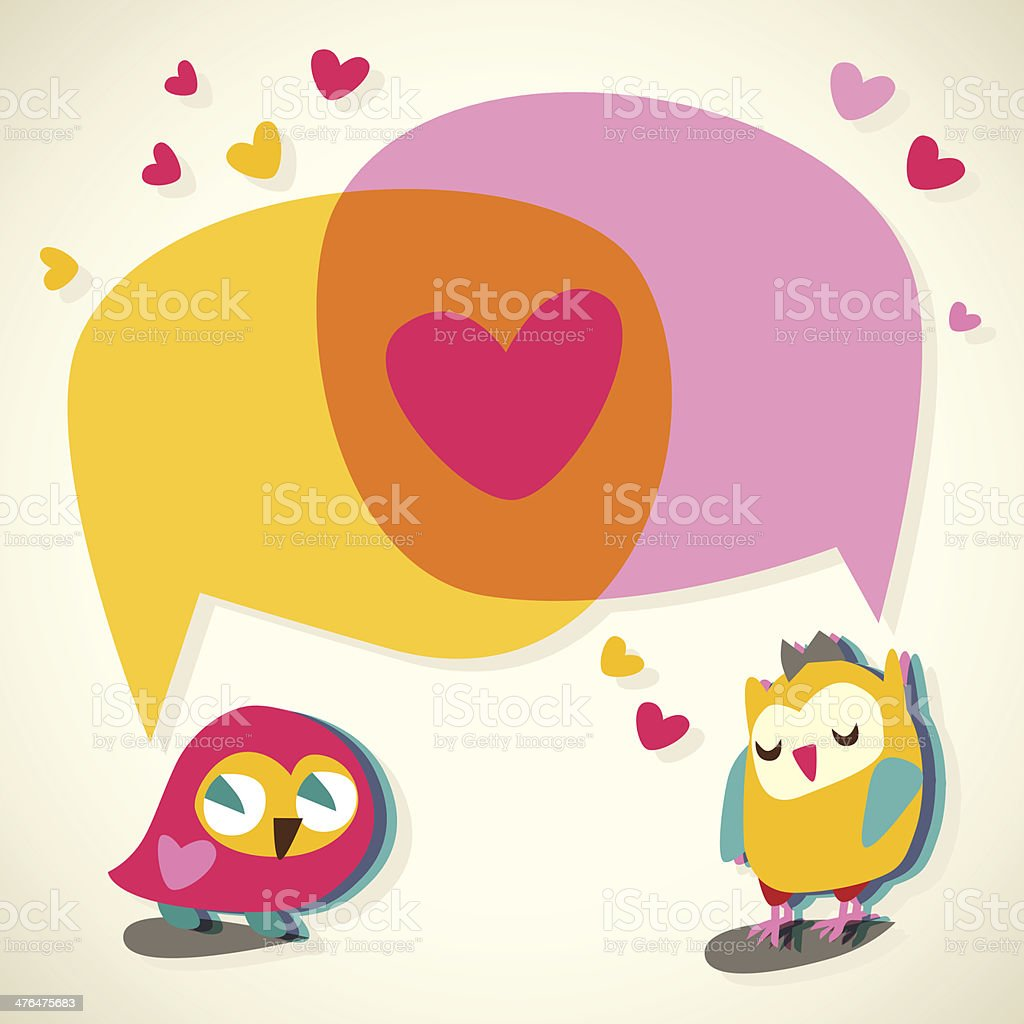 Love speech bubble with cute owl. royalty-free stock vector art