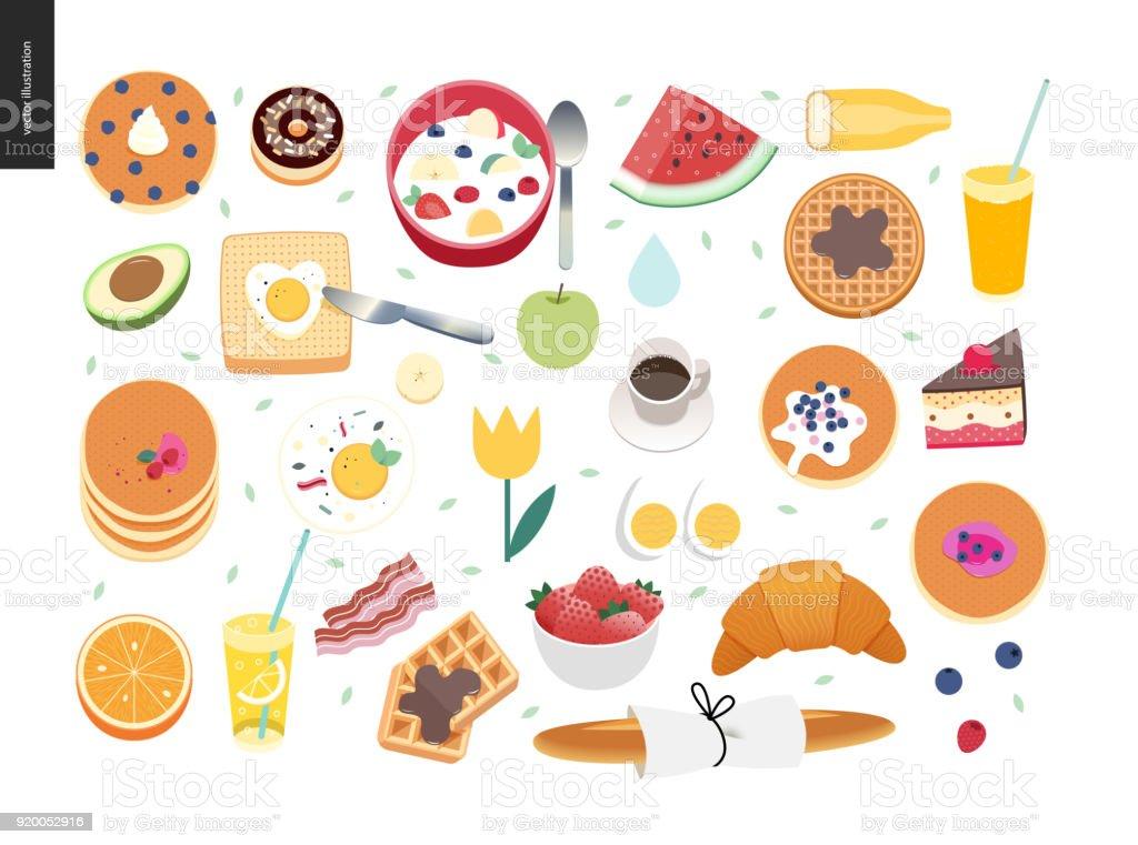 Love, spring, breakfast composition vector art illustration