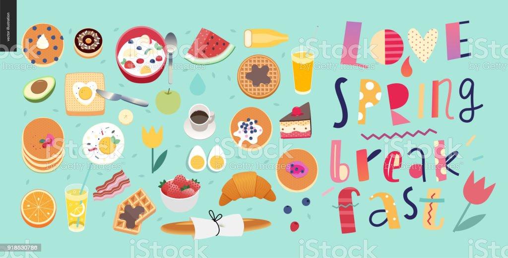 Love, spring, breakfast Lettering composition vector art illustration