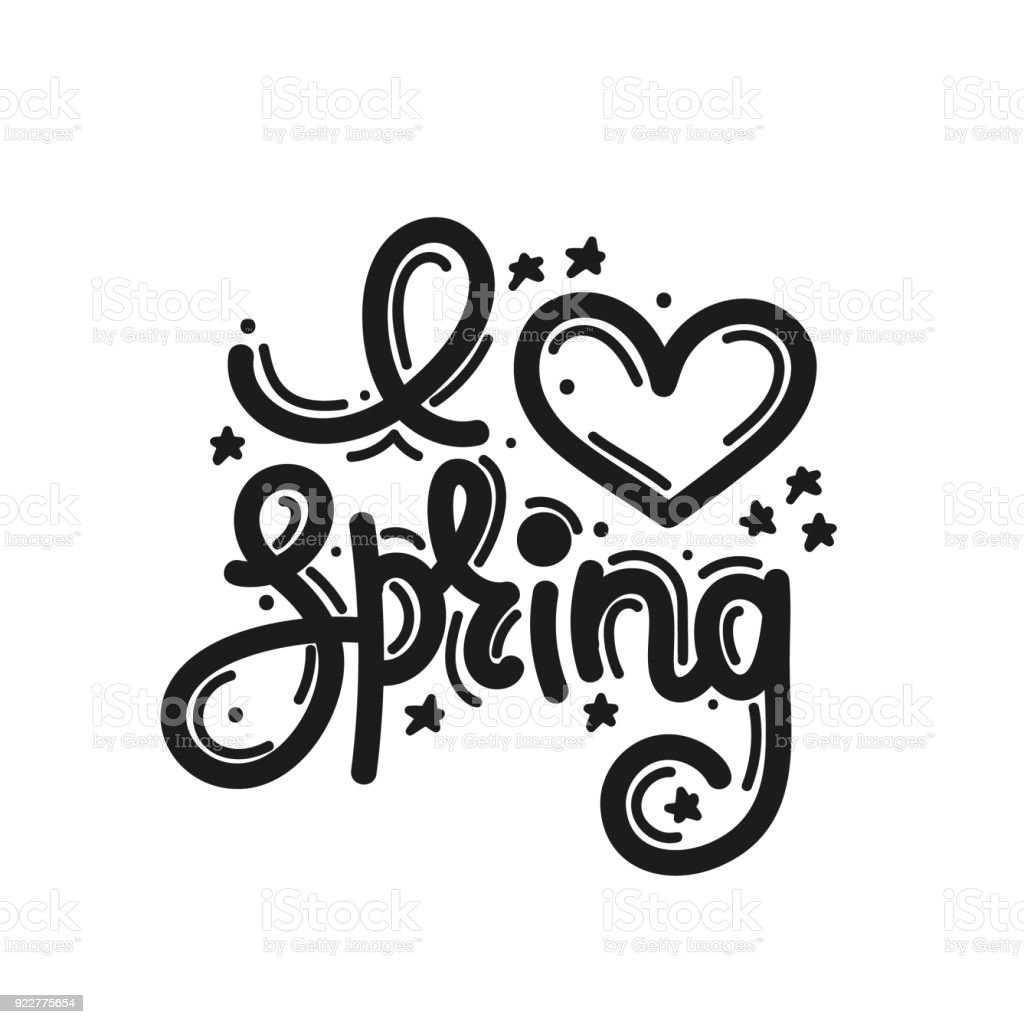 I love spring cute creative hand drawn lettering freehand style i love spring cute creative hand drawn lettering freehand style doodle letters altavistaventures Images