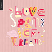 Love spring ice cream lettering conposition on the pink background