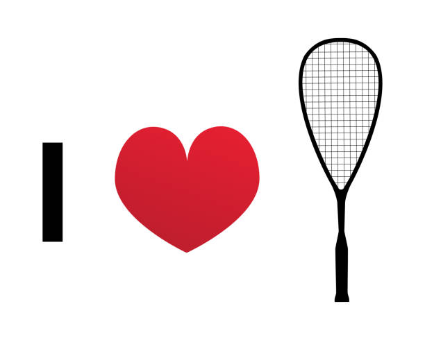 I love squash or racketball silhouette vector icon I love squash or racketball silhouette vector icon. Illustration of squash racket and heart. racket stock illustrations
