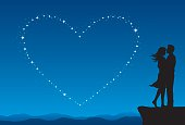 Silhouette of a couple with stars creating a heart shape.