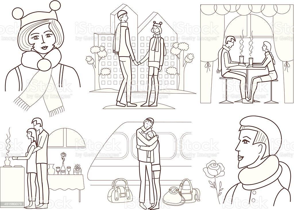 Ilustración De Historia De Amor Libro Para Colorear Y Más