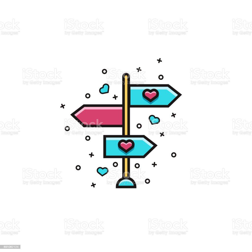 Pfeile In Beide Richtungen Flache Farbe Liniensymbol Auf Isolierte ...