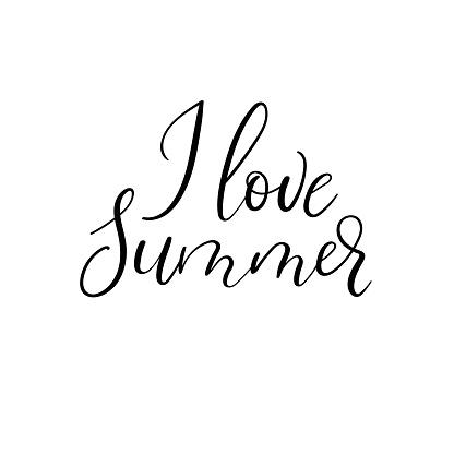 I love summer hand lettering phrase. Summer greeting card