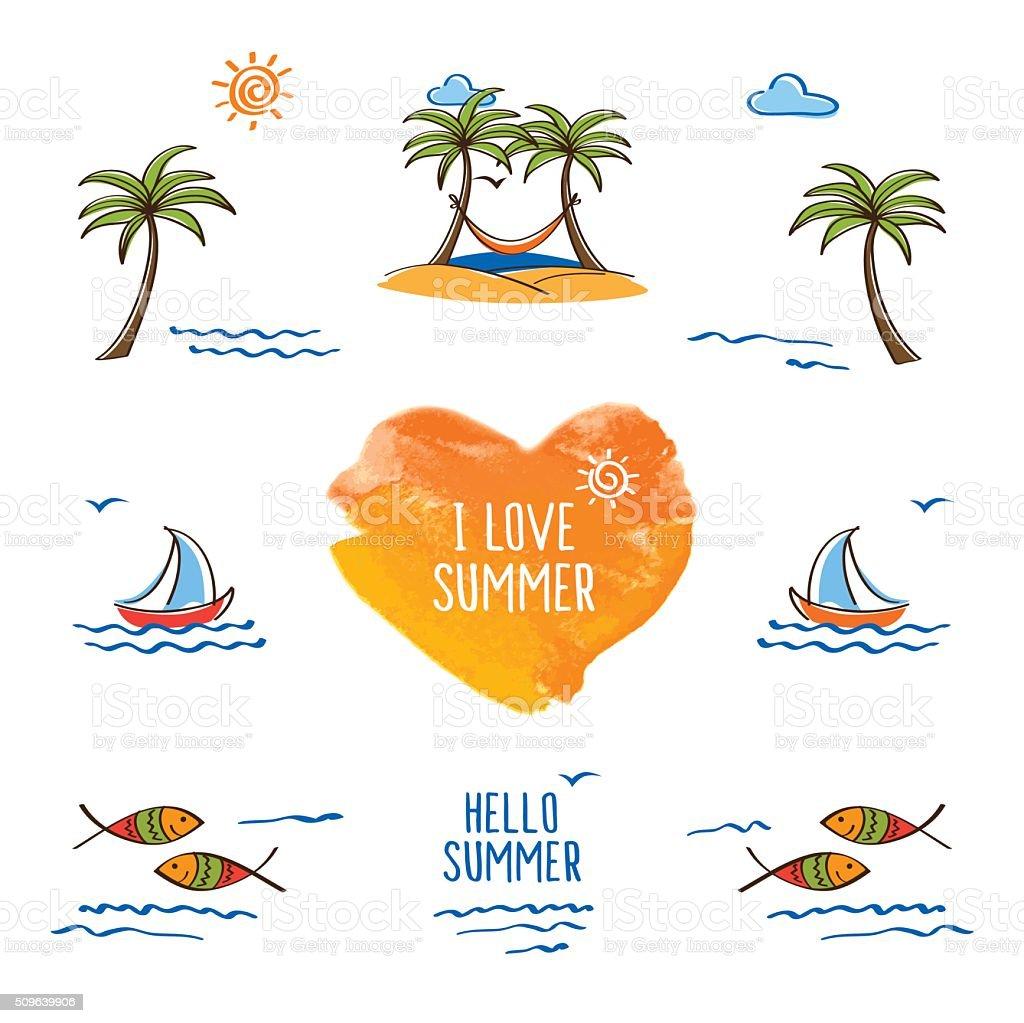 I love summer. Hello summer. vector art illustration