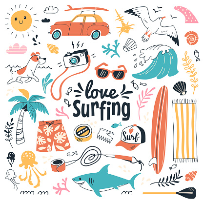 Vector illustration in cartoon doodle style of summer icons, including animals, plants and surfing equipment: surfboard, fins, leash and clothes elements. Isolated on white.