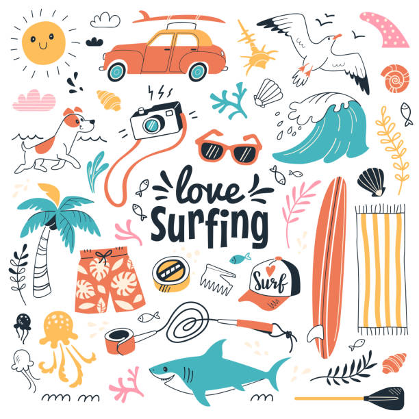 Love surfing collection. Vector illustration in cartoon doodle style of summer icons, including animals, plants and surfing equipment: surfboard, fins, leash and clothes elements. Isolated on white. surf stock illustrations