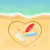 I love surfing. On the beach there are surfboards and slippers with a towel. Heart painted on a sandy beach. Time for rest and sports. Vector illustration. EPS 10