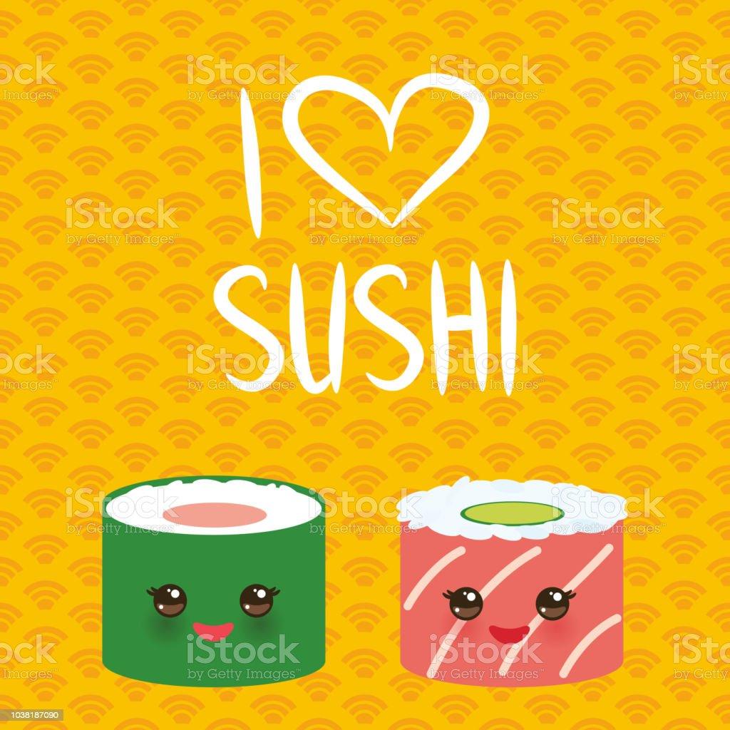 210e95208 I love sushi. Kawaii funny sushi set with pink cheeks and big eyes, emoji.  orange yellow background with japanese circle pattern. Vector -  Illustration .