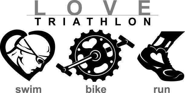 ilustraciones, imágenes clip art, dibujos animados e iconos de stock de amor swim bike run - pedal