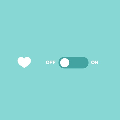 Love switcher. Romantic ON-OFF toggle switch. Valentine Day deactivate.