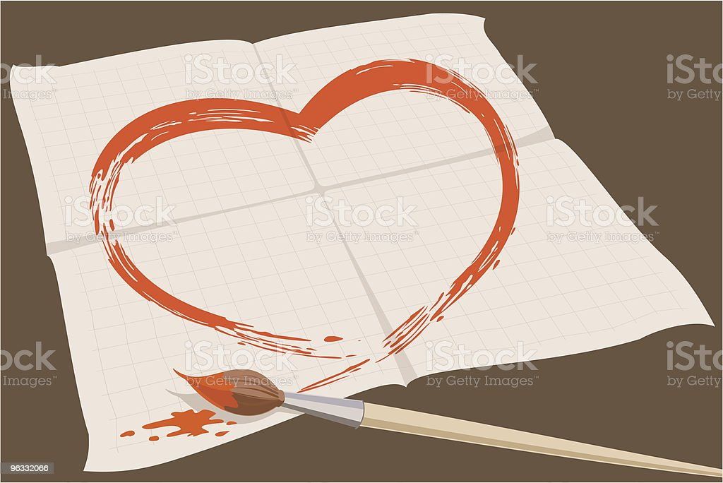 Love symbol painted on the checked sheet of paper royalty-free stock vector art
