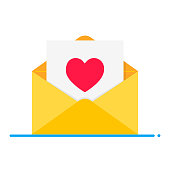 Love symbol - the heart in the open envelope without text flat style design vector illustration isolated on white background. Love letter for Valentine's day!