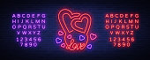 Love symbol vector. Neon sign on the theme of Valentine s Day. Flaming banner for greetings, leaflet, flyer. Bright night neon advertisement for the day of lovers. Editing text neon sign
