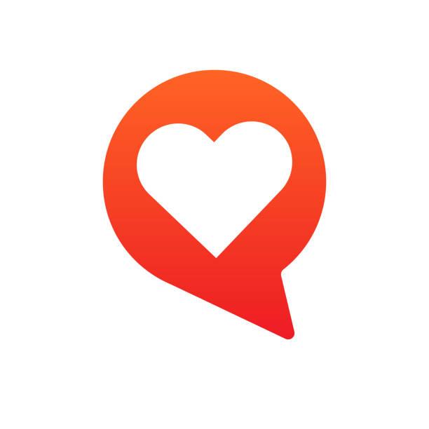 love talking bubble logo icon concept love talking bubble logo icon concept dating stock illustrations