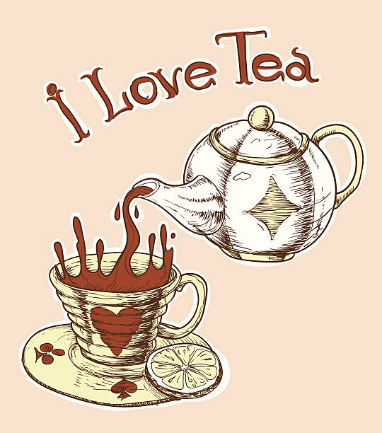 i love tea - stacked tea cups stock illustrations, clip art, cartoons, & icons