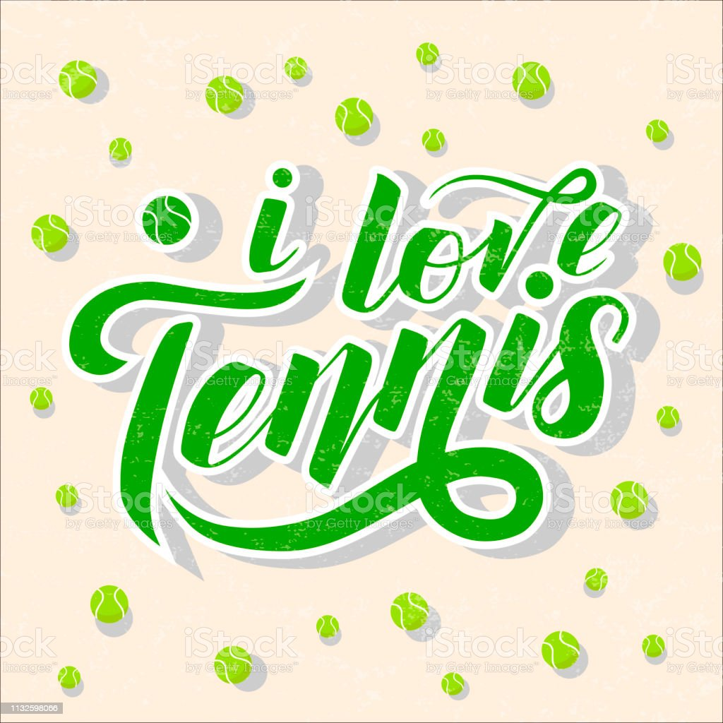 I love Tennis green lettering text with tennis balls on light pink...