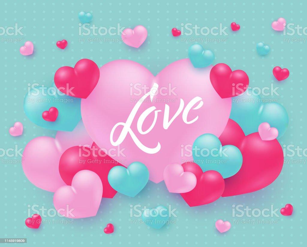 Conception De Texte Damour Avec Signe Sur Grand Coeur Rose