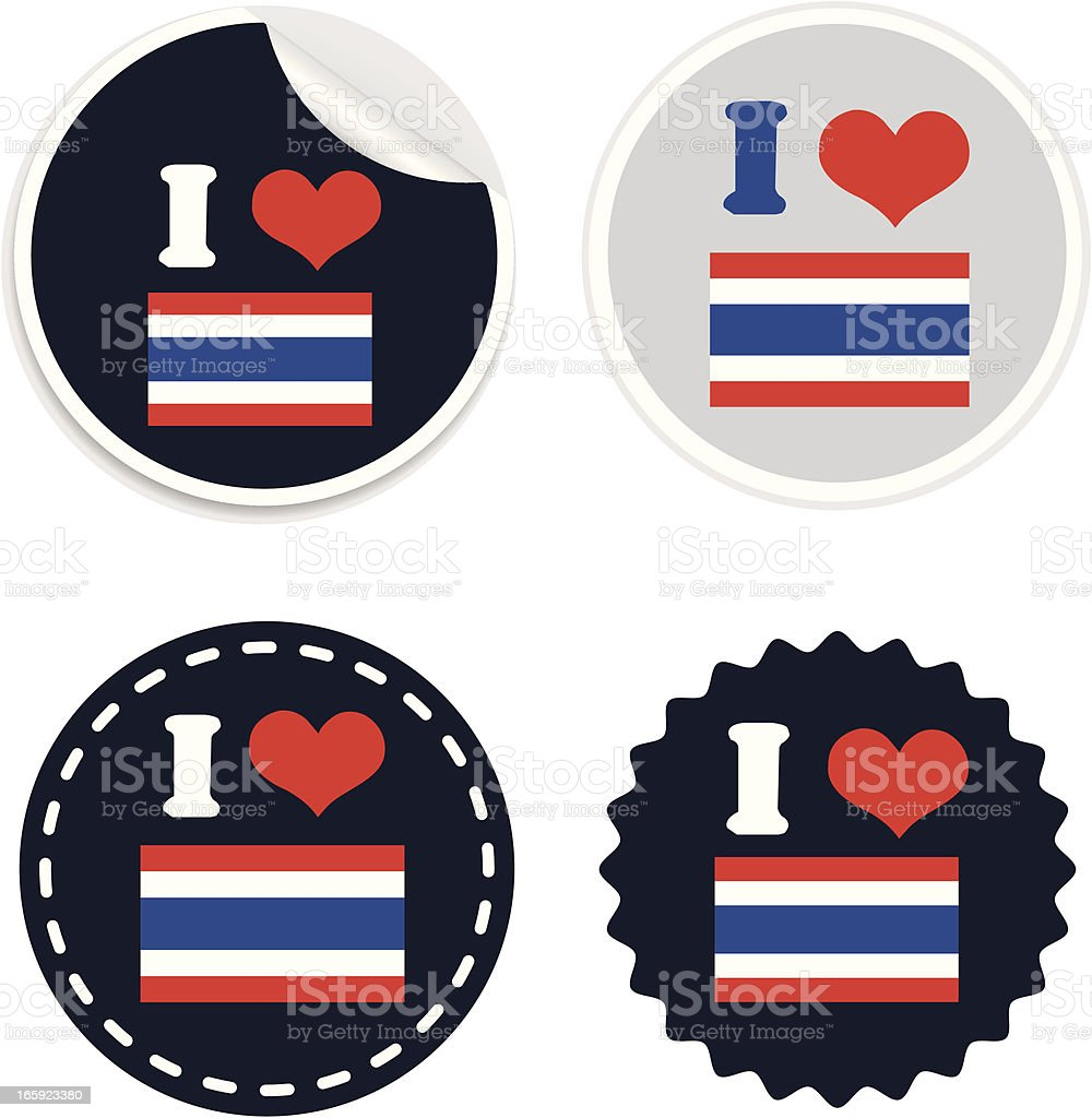 I Love Thailand flag Badge or sticker royalty-free stock vector art