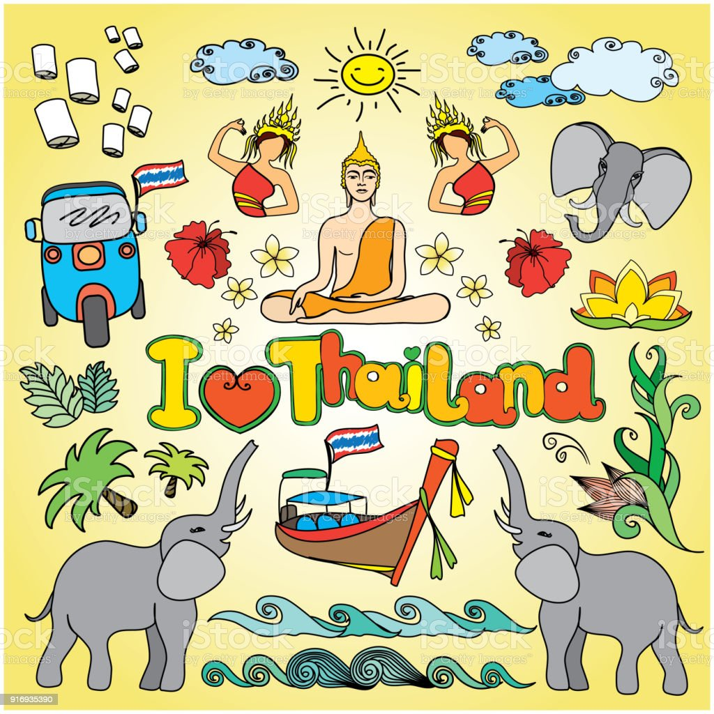 I Love Thailand Set Thai Color Vector Icons And Symbols Stock Vector