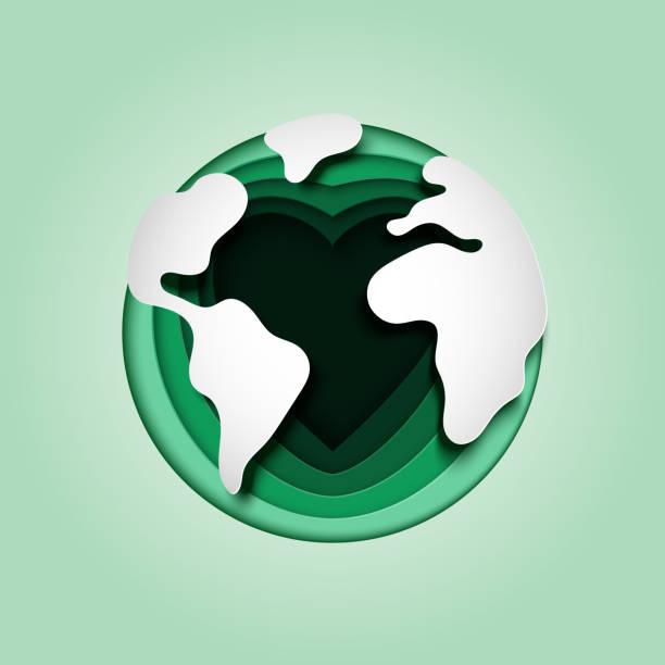 bildbanksillustrationer, clip art samt tecknat material och ikoner med älska jorden och spara världen bakgrund mall papper konst stil. - recycling heart