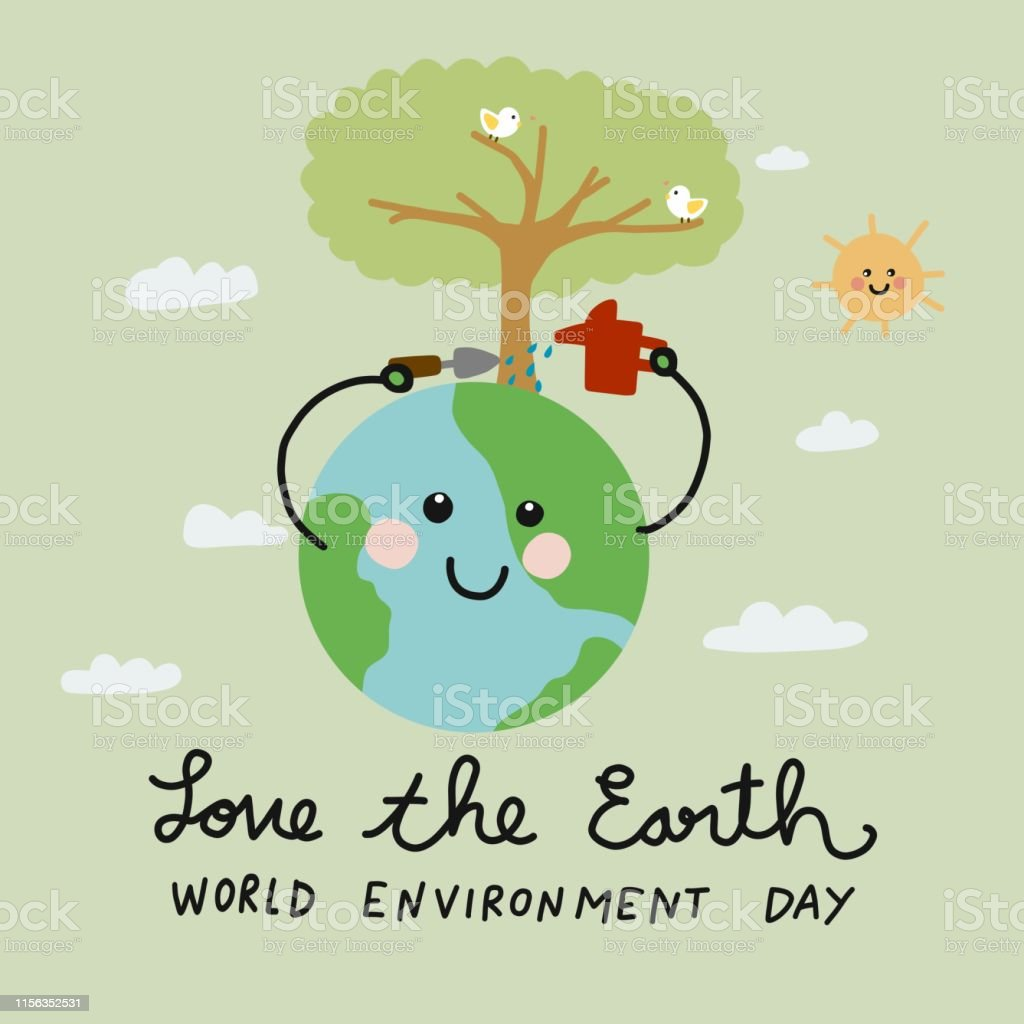 Love the Earth, World Environment Day world cute smile earth watering...