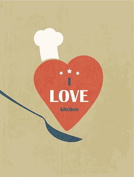 I love the kitchen. Retro poster. vector art illustration